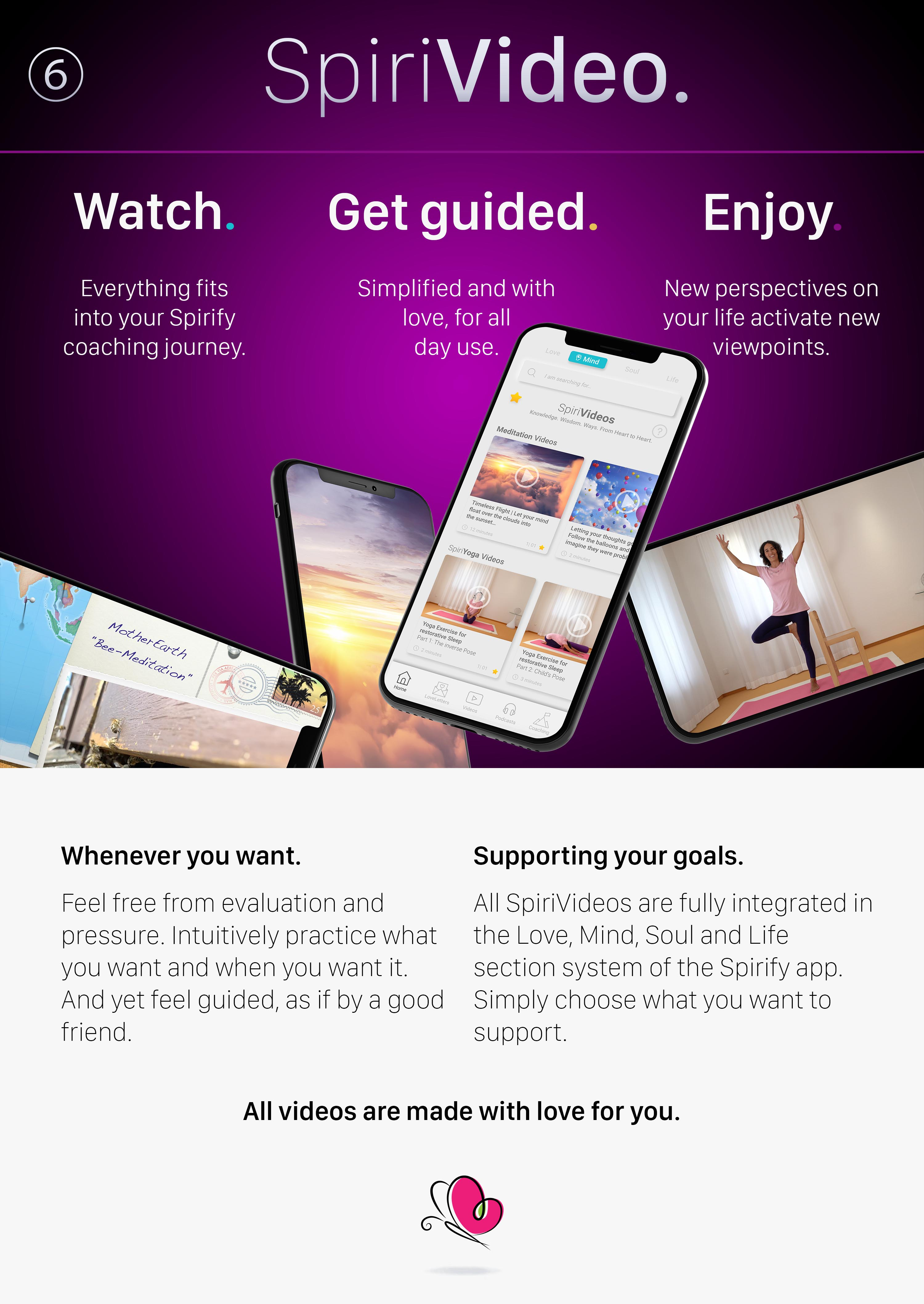 Discover the world's best self-coaching course in the Spirify® app by international bestselling author Ruediger Schache. Every week a new life topic like love, self-love, relationship, partnership, feelings, fears, purpose, success and career. Every day a coaching with mindset, goals and success monitoring. Combined with meditation and podcast.  www.spirify.app